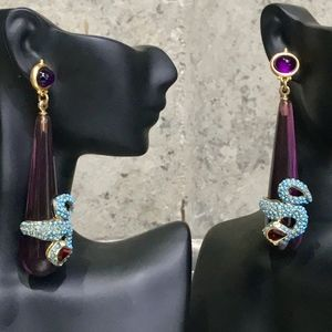 PURPLE RESIN AND BRASS DROP SNAKE EARRINGS